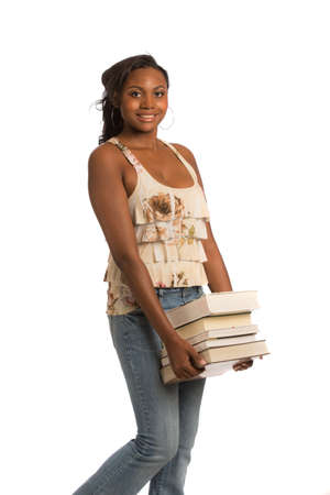 african student: Happy Casual Dressed Young African American College Student Isolated on White Background