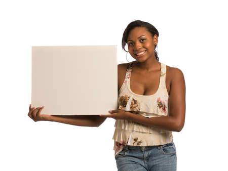 African American Female Holding Blank Board on Isolated White Background Stock Photo - 15201626