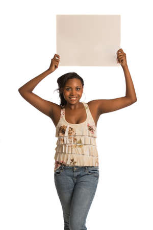 African American Female Holding Blank Board on Isolated White Background Stock Photo - 15201627