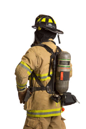 Firefighter with mask and airpack fully protective suit on isolated white background photo