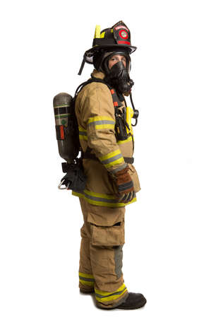 fire fighter: Firefighter with mask and airpack fully protective suit on isolated white background