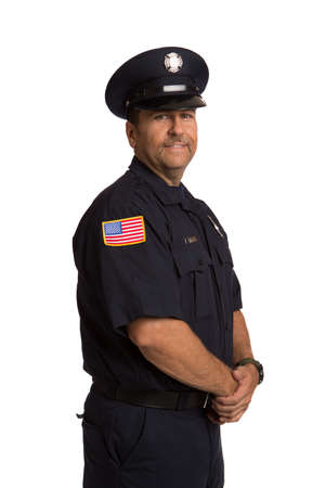 Uniformed Firefighter Standing Half Body Length Portrait Isolate on Withe Background photo