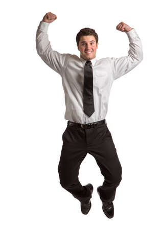 Businessman   Jumping cheerfully on Isolated White Background photo