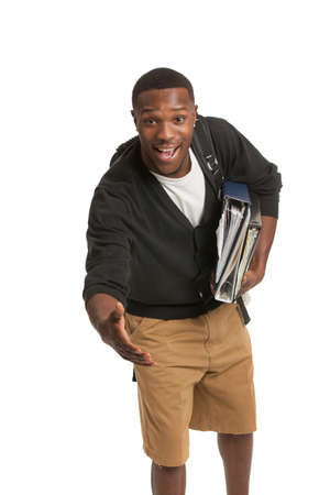 african student: African American College Student Hand Shake Gesture Casual Dressed Young Man Isolated on White Background Stock Photo