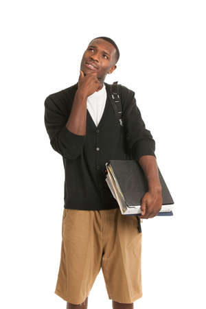 African American College Student Thoughtful Expression Casual Dressed Young Man Isolated on White Background Stock Photo - 15036656