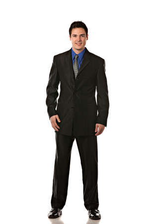 full suit: Young Businessman Standing Smiling Full Body Length  on Isolate White Background