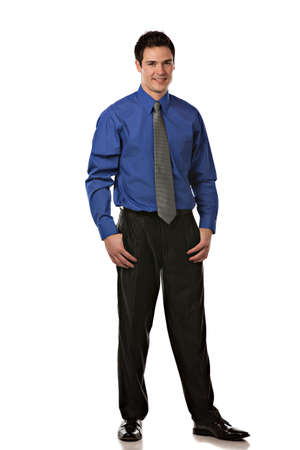 businessman standing: Young Businessman Standing Full Body Length Smiling on Isolate White Background
