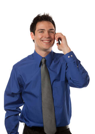 Young Businessman Talking over Cell Phone on Isolated White Background Smiling photo