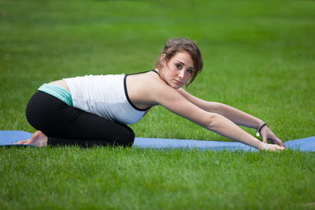 Female Yoga Practice  at Outdoor Park Flexible Pose photo