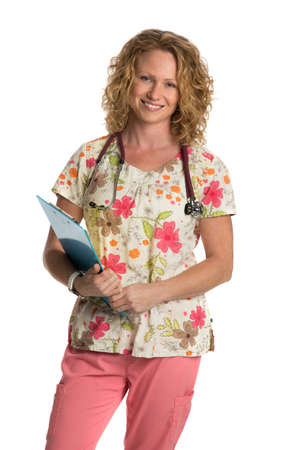 nurse clipboard: Blond Nurse with Natural Looking Smile Wearing Flower Patterned Scrubs Holding Clipboard on Isolated White Background Stock Photo
