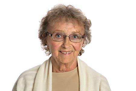 80: 80 Year Old Elderly Senior Happy Portrait Headshot Isolated on White Background Stock Photo
