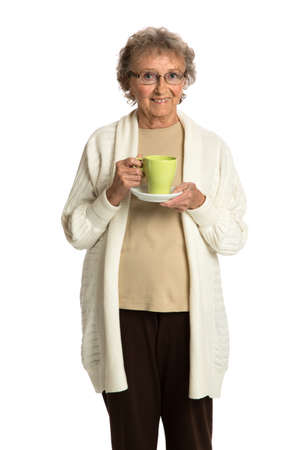 80 year old: 80 Year Old Elderly Senior Holding Coffee Cup Smiling Isolated on White Background Stock Photo