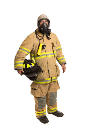 Firefighter with mask and fully protective suit on isolated white background Stock Photo - 15880454