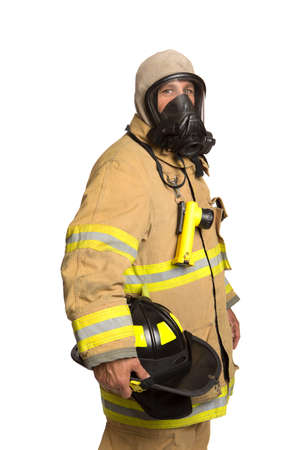protective: Firefighter with mask and fully protective suit on isolated white background
