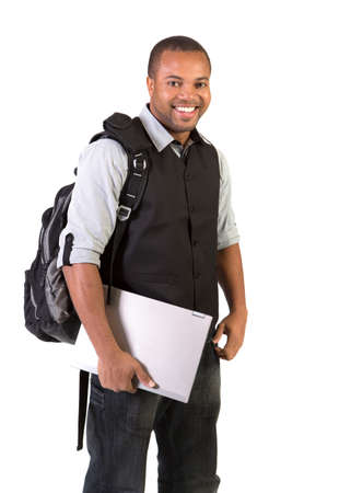 Happy African American College Student Holding Laptop on Isolated White Background Stock Photo - 15895681