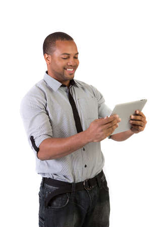 african american male: Happy African American College Student Working on Touch Screen Tablet PC