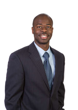 black business men: Natural Looking Smiling Young African American Male Model on Isolated Background Stock Photo