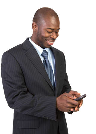 Natural Looking Young African American Male Texting on Isolated Background Stock Photo - 15895703