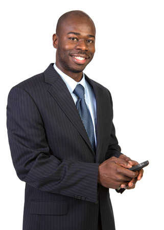calling businessman: Natural Looking Young African American Male Texting on Isolated Background