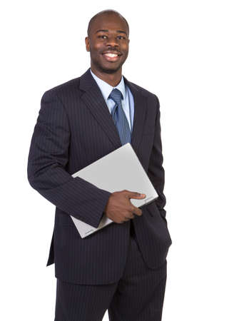laptop stand: Young Black Male Holding Laptop Isolated on White Background Stock Photo