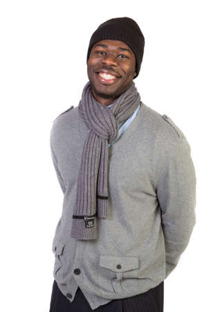 happy young man: Natural Looking Smiling Young African American Male Model on Isolated Background Stock Photo