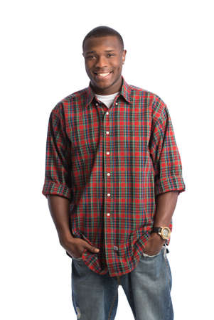 Natural Looking Smiling Young African American Male on Isolated Background photo