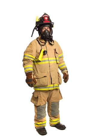 Firefighter with mask and fully protective suit on isolated white background Stock Photo - 15880455
