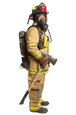outfits: Firefighter holding mask and airpack fully protective suit holding ax on isolated white background Stock Photo