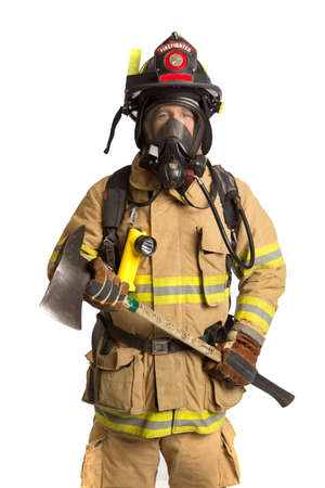 Firefighter holding mask and airpack fully protective suit holding ax on isolated white background Stock Photo