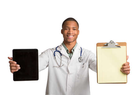 African American Doctor Holding Touch-Pad and Paper Notepad Tablet PC Texting on Isolated White Background Stock Photo - 16120421