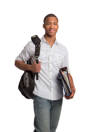 african american male: Happy African American College Student Holding Biders on Isolated White Background