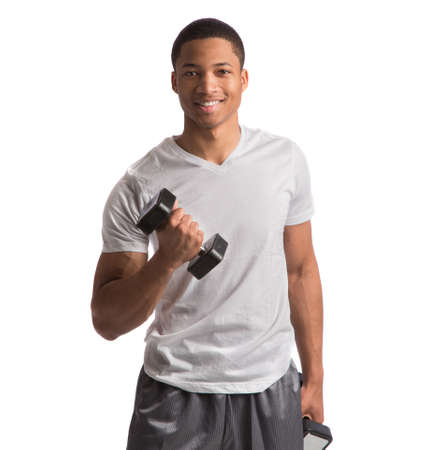Young African American Athlete Holding Lifting Dumbbells on Isolated White Background photo