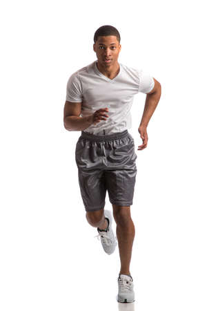 Young African American Runner Indoor Isolated on White Background photo
