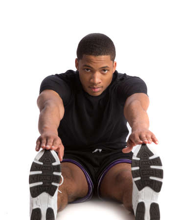 male athlete: Healthy Looking Happy Young African American Male Athlete Ready Workout Stock Photo