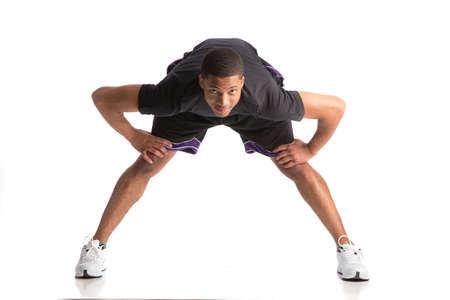 african american male: Healthy Looking Happy Young African American Male Athlete Ready Workout Stock Photo