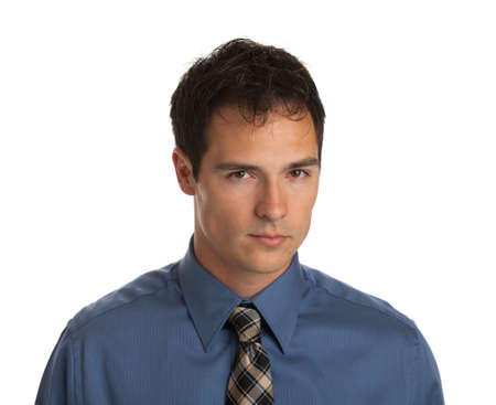 Young Businessman Serious Facial Expression on Isolate White Background photo