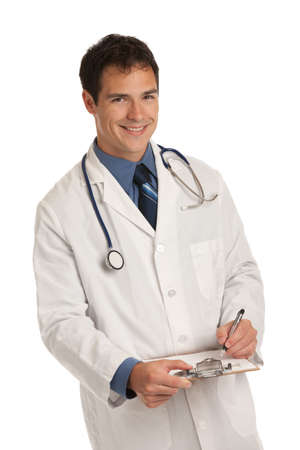 doctor holding gift: Friendly Young Doctor Holding and writing a Notepad on Isolated White Background