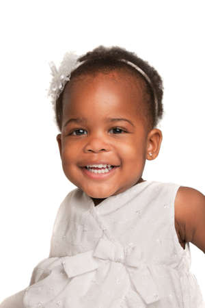 sweet tooth: Smiling Three Years Old Adorable African American Girl Head and Shoulders Portrait on White Background