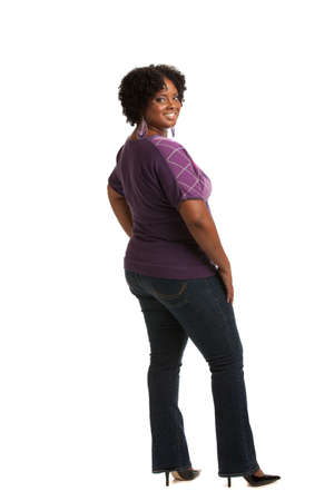 full size: Cheerful Young African American Plus Size  Woman Full Body Length Portrait on White Background Isolated Stock Photo