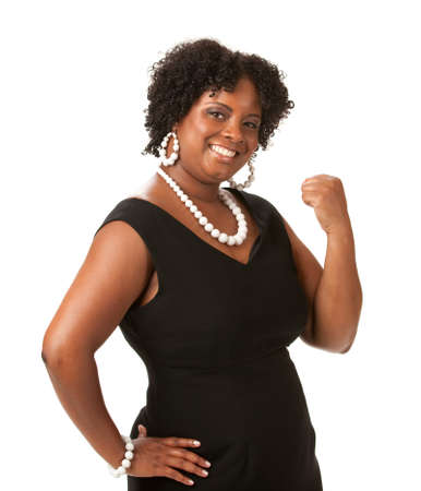 to size: Cheerful Young African American Woman Confident Expression on White Background Isolated Stock Photo