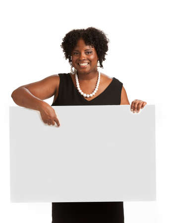 african business woman: Happy Smiling African American Female Holding Blank Board Isolated on White Background