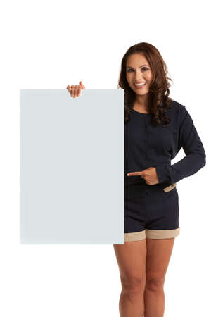 white sheet: Smiling Asian Female Holding a blank Sign  Isolated on white background