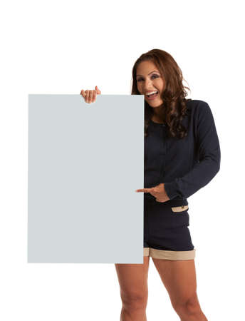 Smiling Asian Female Holding a blank Sign  Isolated on white background photo