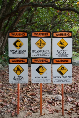 Warning Signs on Surfing Site by Beach  Hawaii