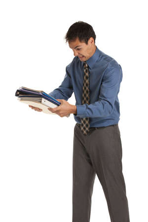 angry businessman: Young Businessman Standing Frustrated Expression Holding Business Documents Folder  on Isolate White Background