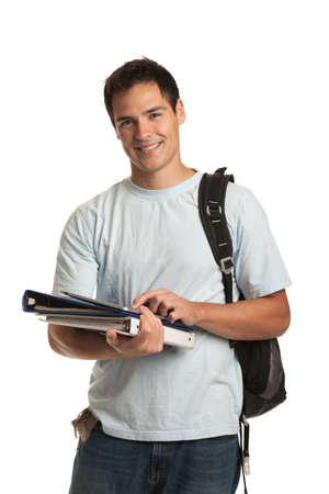 university text: Happy Young College Student Holding Tablet on Isolated White Background