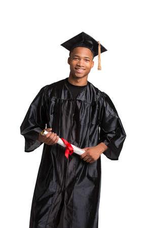 egresado: Joven Feliz afroamericano Holding Mujer Estudiante Certificado de Graduaci?n Emocionante Expresi?n