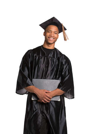 cap and gown: Young Happy African American Male Student Holding Graduation Certificate Happy Expression