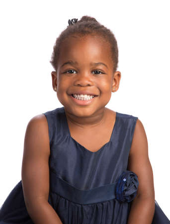 sholders: Smiling Three Years Old Adorable African American Girl Head and Shoulders Portrait on White Background