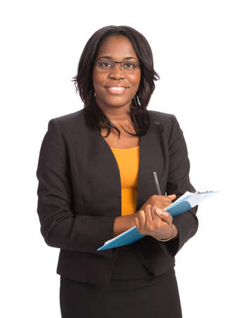 clipboard isolated: Young African American Businesswoman Holding Folders on Isolated White Background
